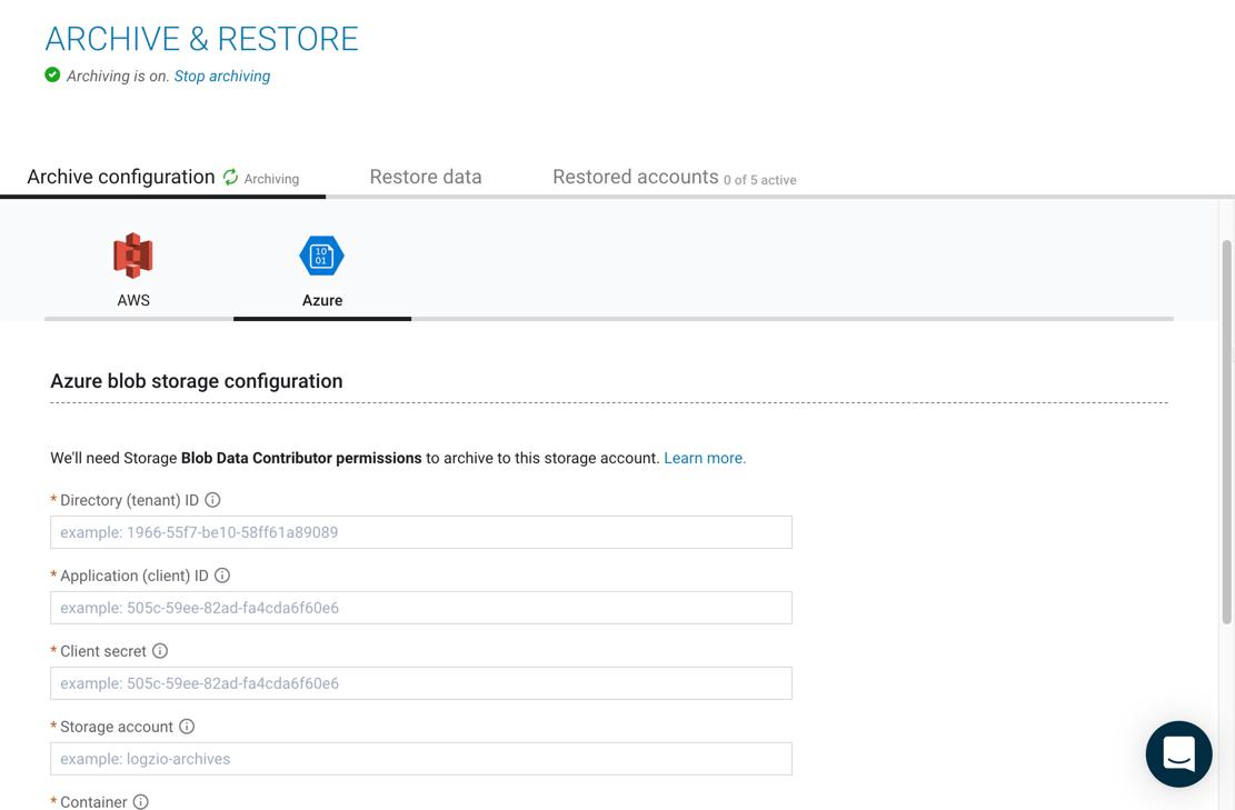 Configure Logz.io connection to Azure