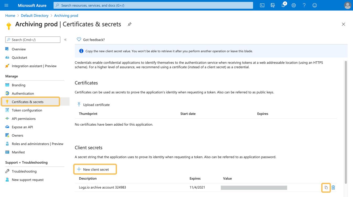 Create Azure App Client secret
