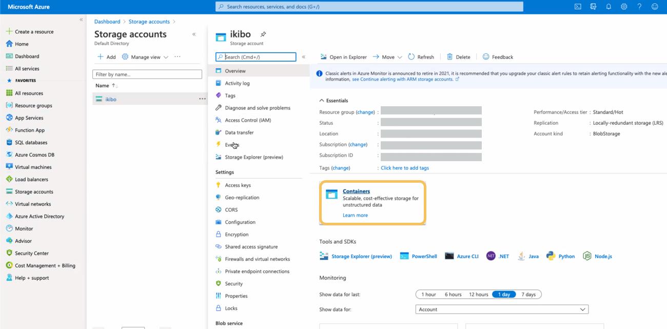 Create Azure Storage container