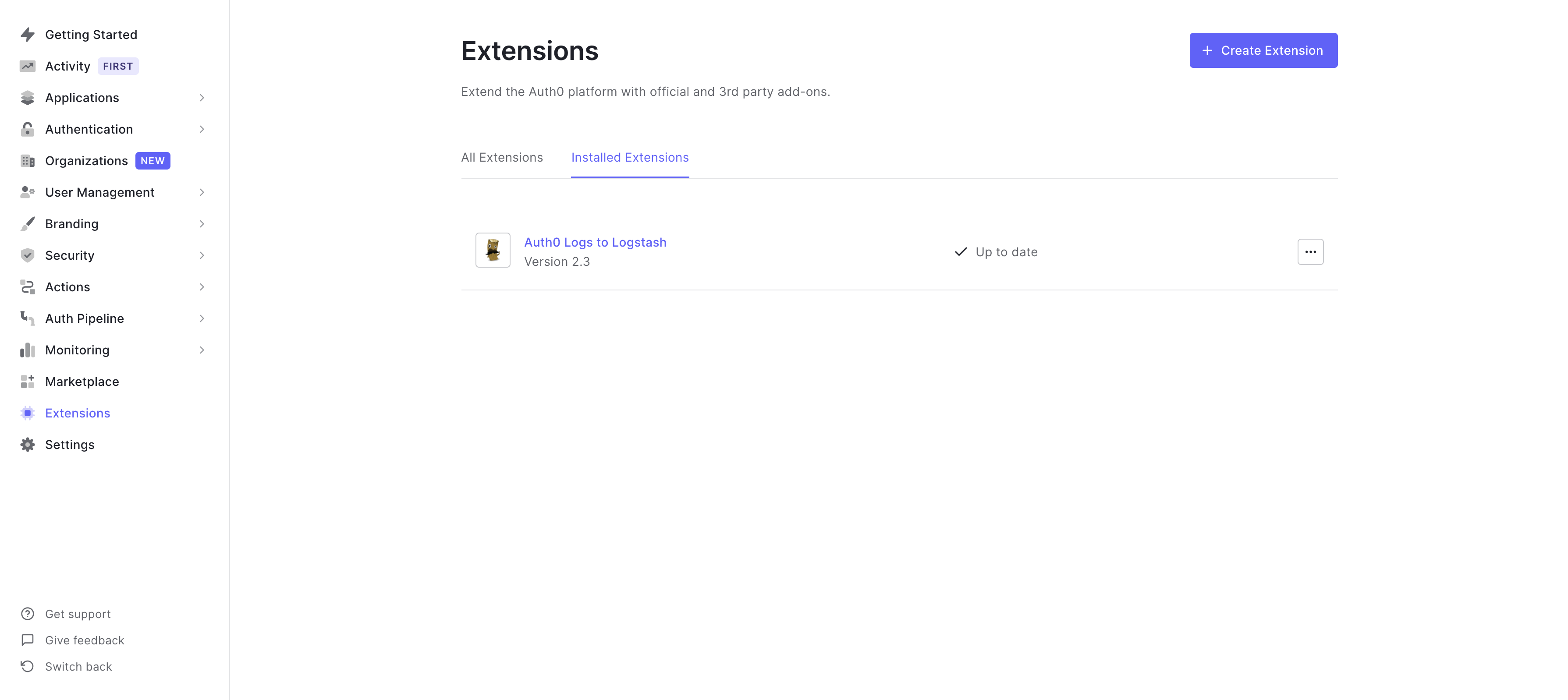 Installed extensions