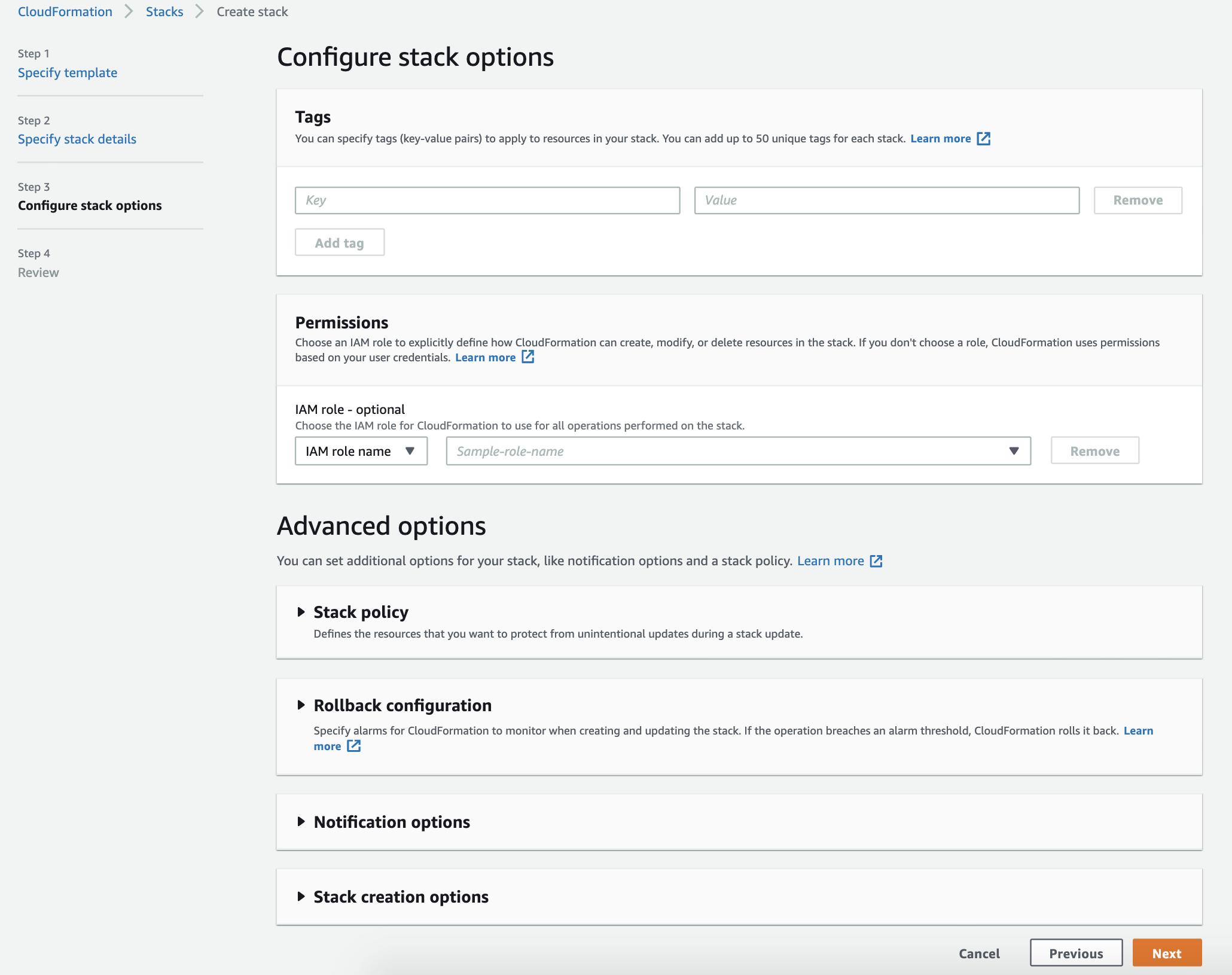 Configure stack options