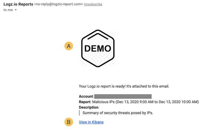 Example of Logz.io report email