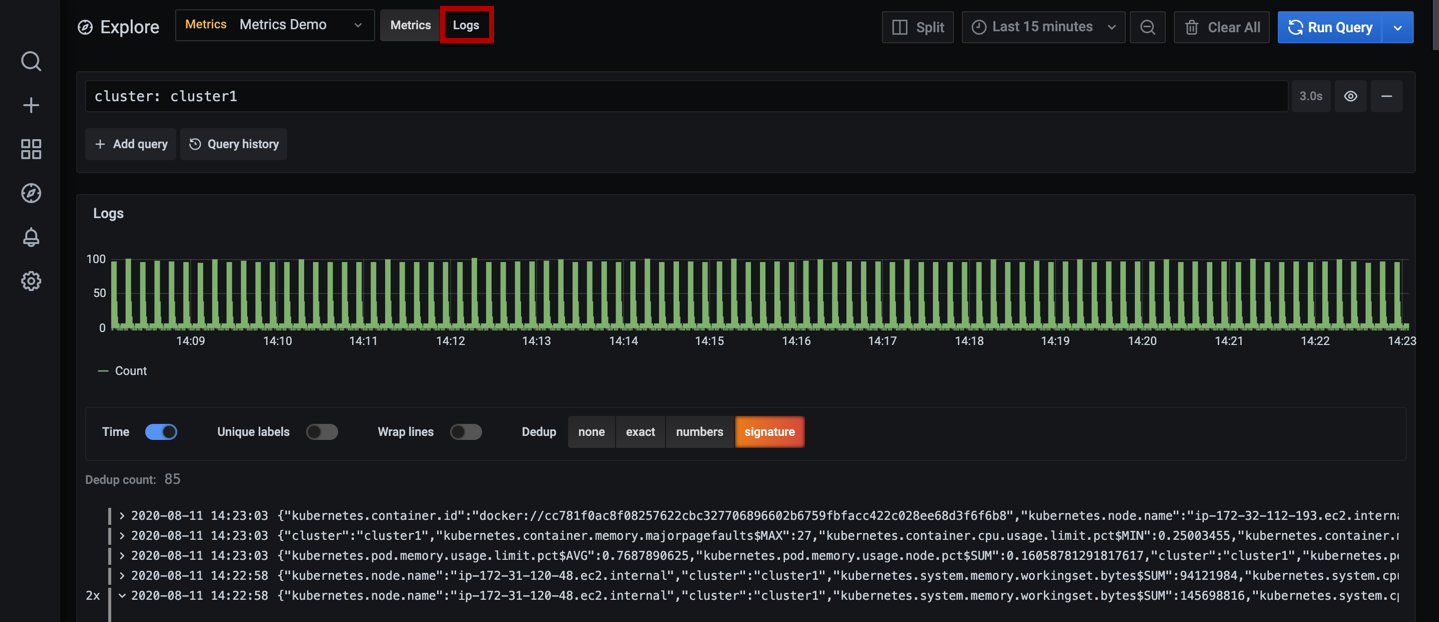 Grafana Explore in Logs view