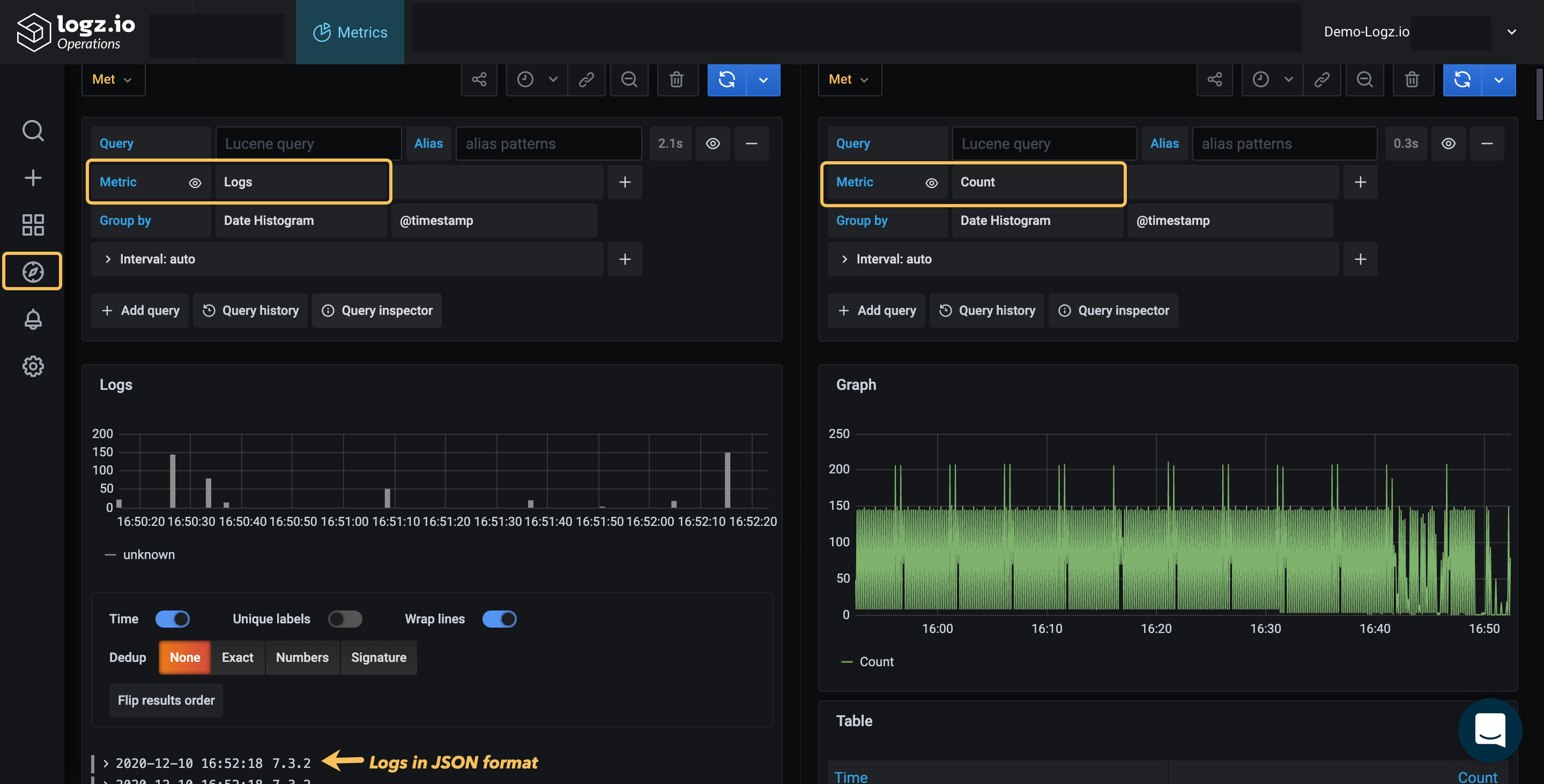 Grafana Explore with Metrics and Logs views shown side-by-side