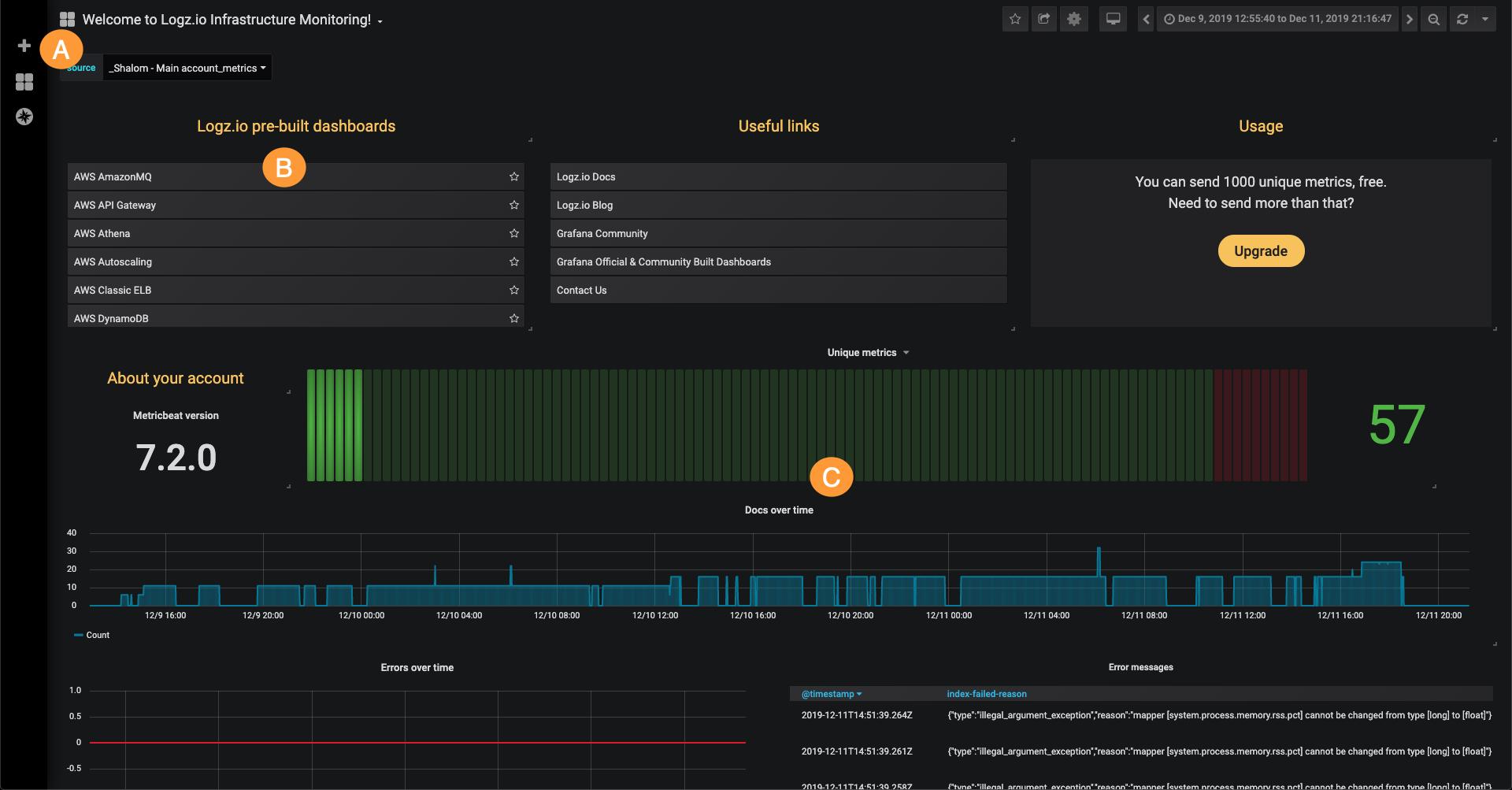 Logz.io Infrastructure Monitoring