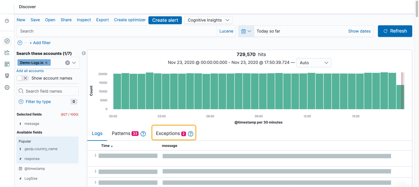 Exceptions count in Kibana Discover