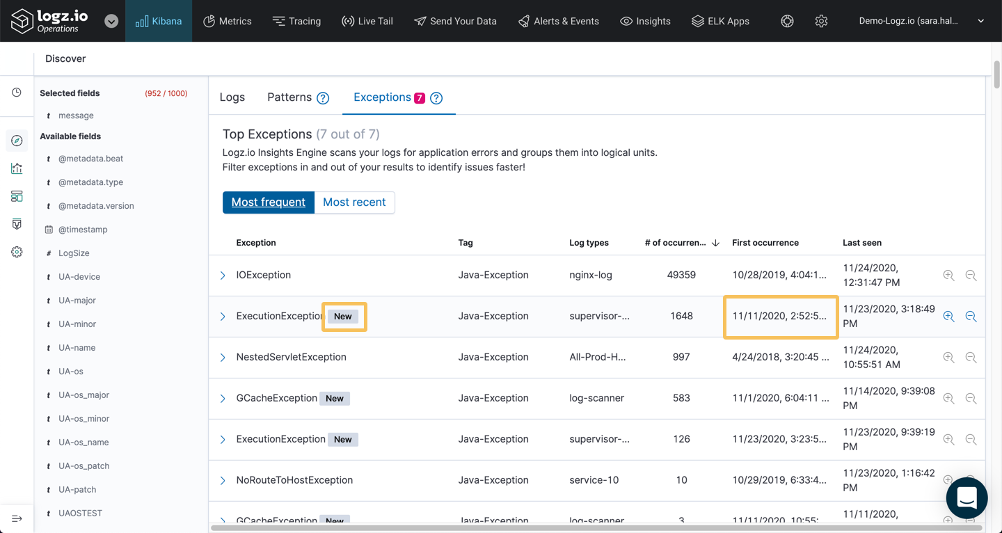 Expand an exception for more details directly in Kibana Discover