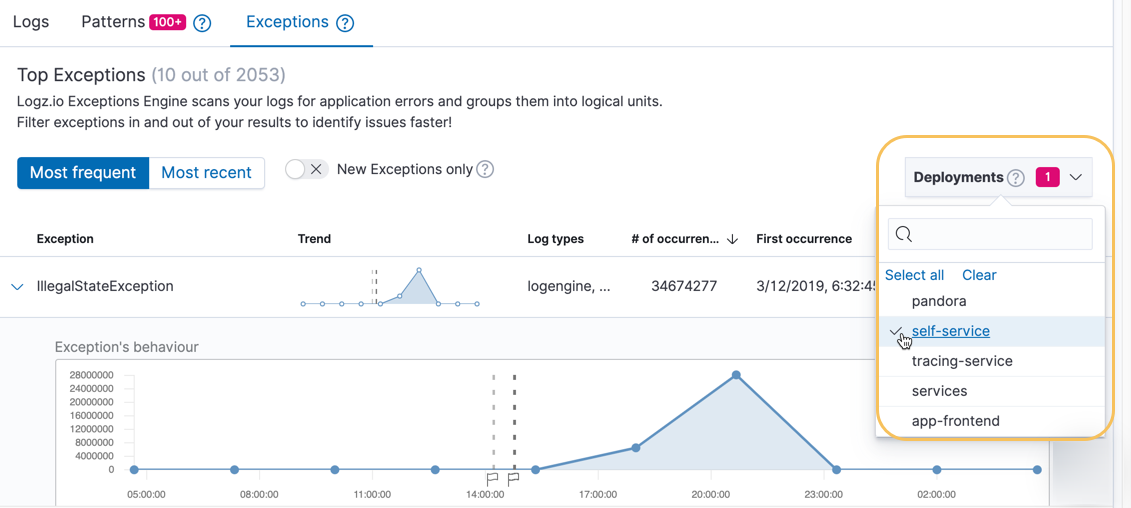 Select Deployment markers to enable them in Exception graphs