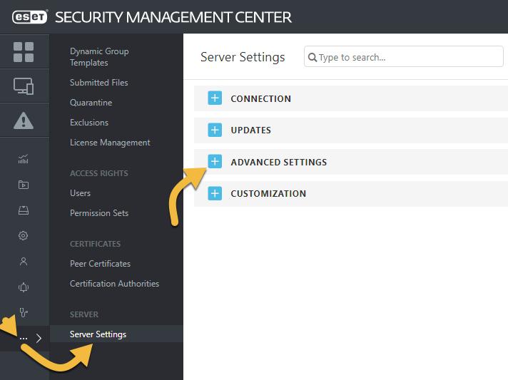 ESET Admin Console configuration