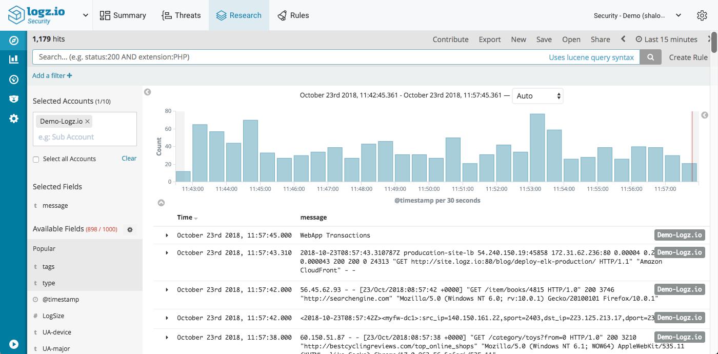 Logz.io Cloud SIEM Research page
