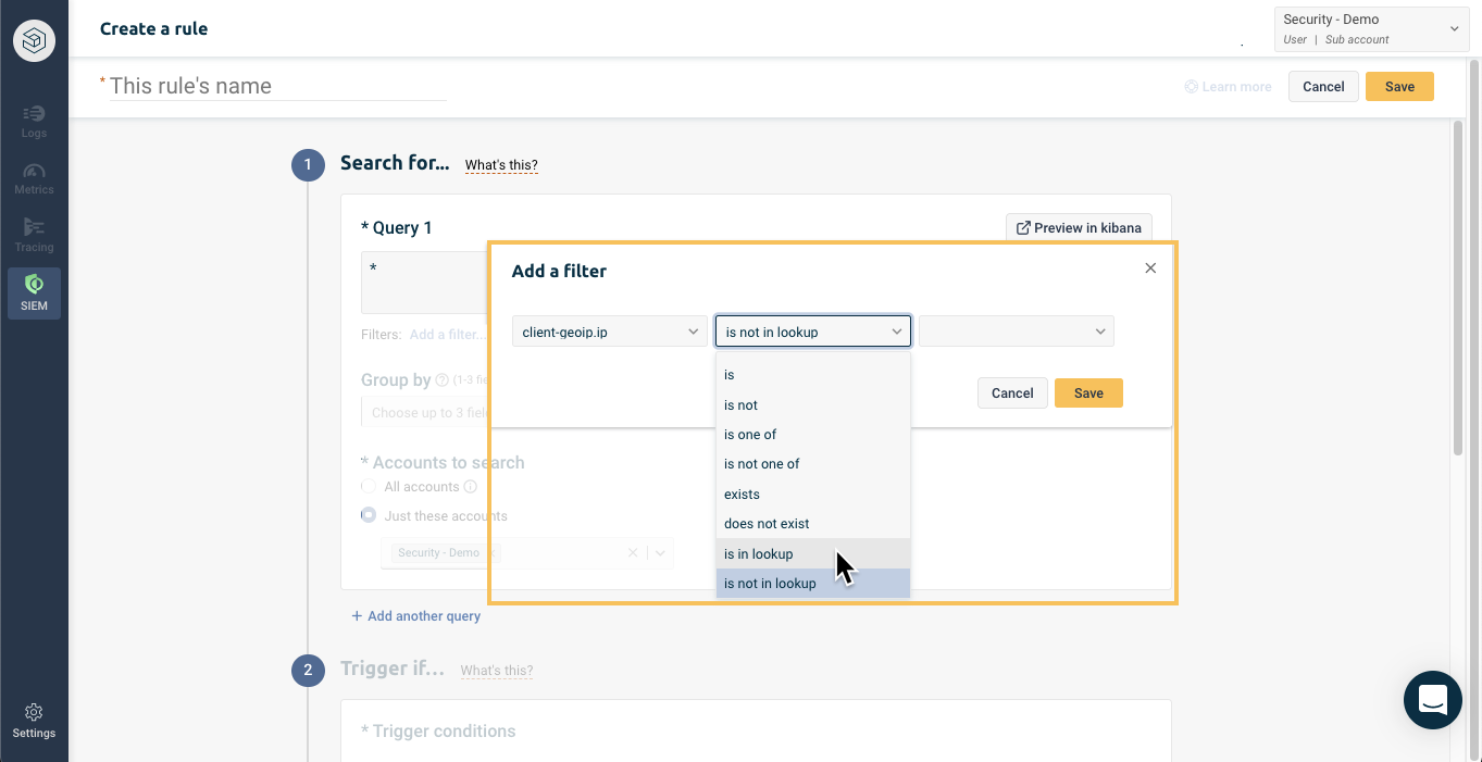 Filter by lookup in Logz.io security rule