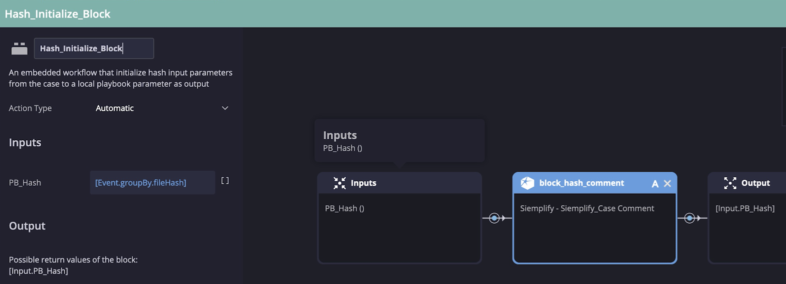 Initialize the input block for the Logz.io playbook for Siemplify