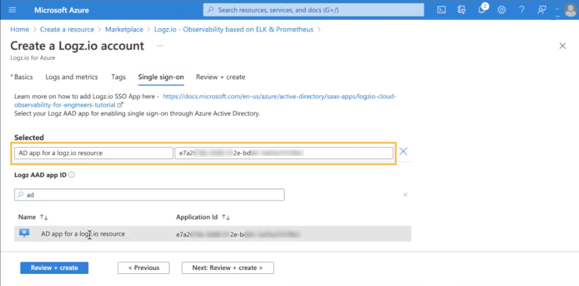 Select your Logz AAD app to enable SSO