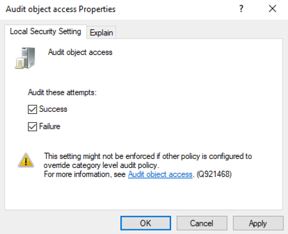 Audit object access Properties