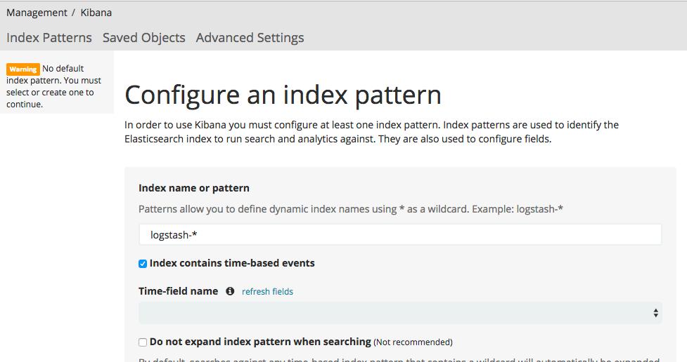 configure index pattern