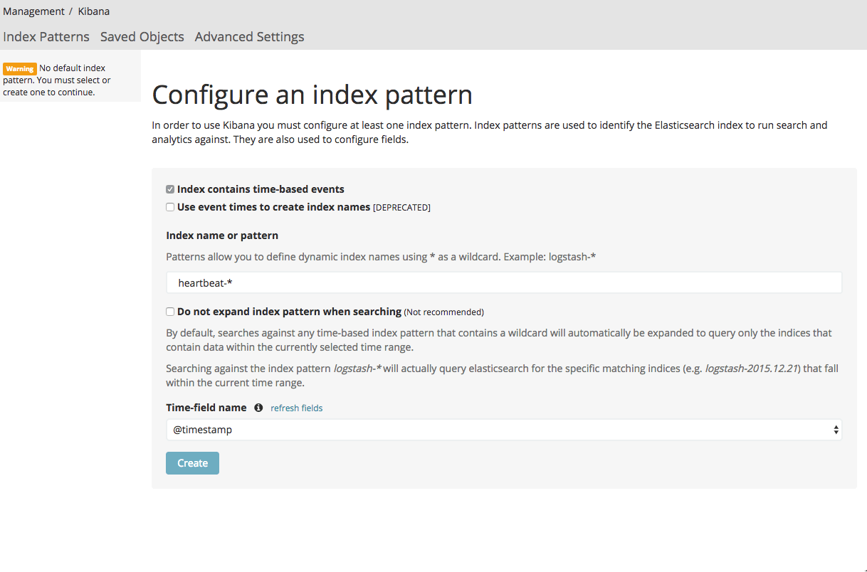 configure an index pattern