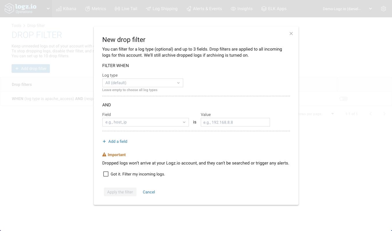filter add fields