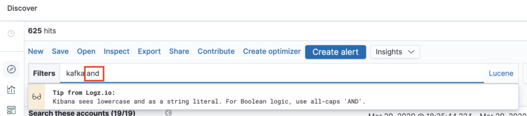 Kibana Advisor example: Advising users on the use of lowercase as a string literal in Kibana and Lucene