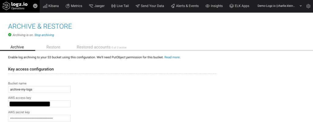Logz.io Archive & Restore Key Access Configuration