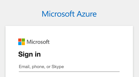 Microsoft Azure sign-in