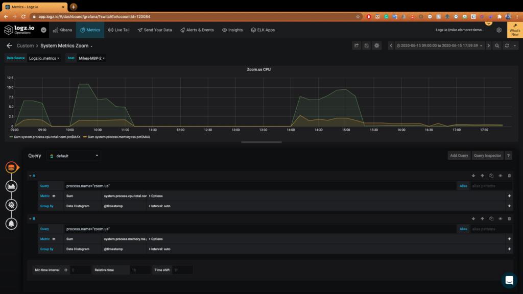 Filtering Zoom metrics in Logz.io