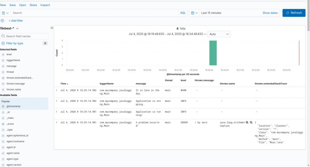 Figure 1: Log data shown in Kibana for a self-managed Elasticsearch setup