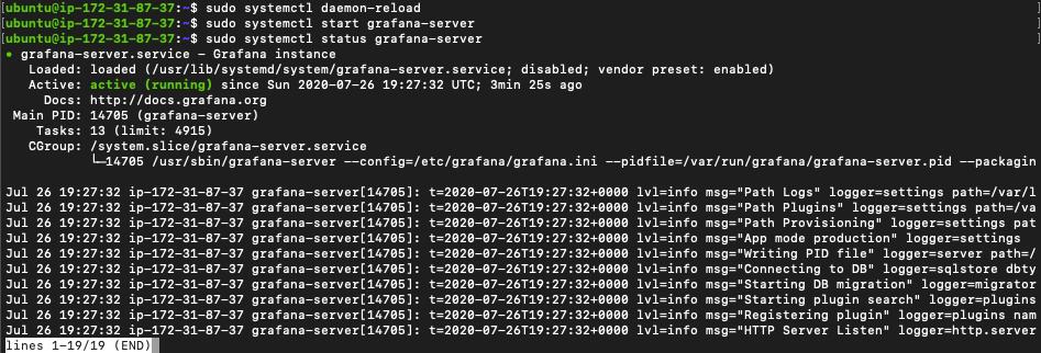 OSS grafana started on an Ubuntu EC2 Instance
