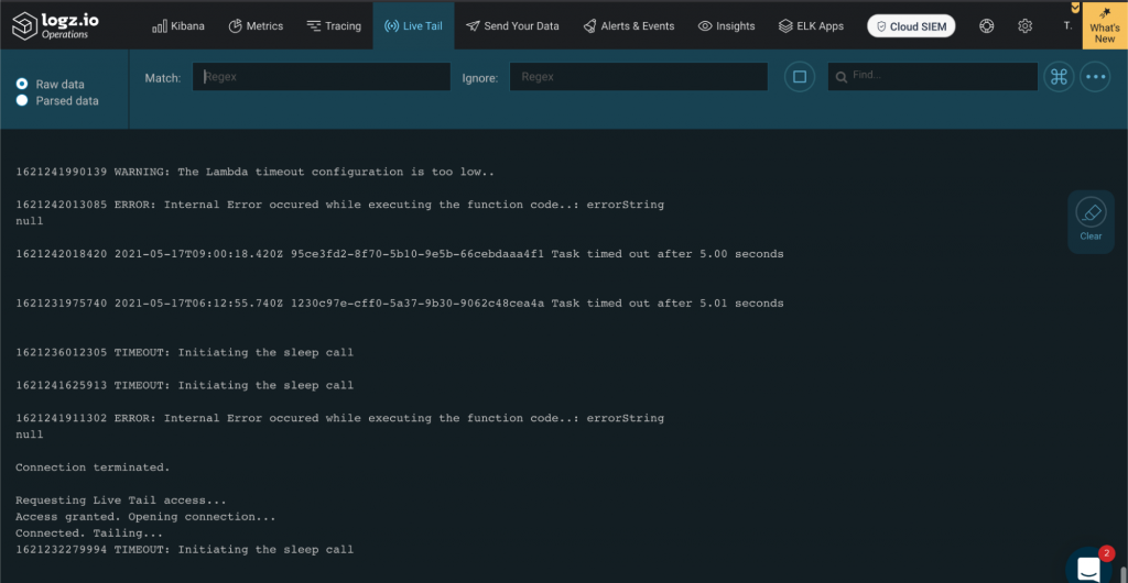 Live tailing of logs on Logz.io