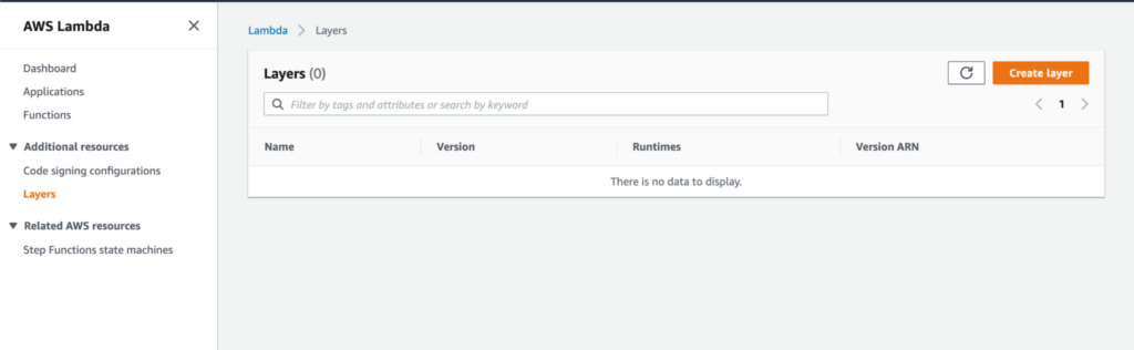 Create a new layer with AWS Lambda