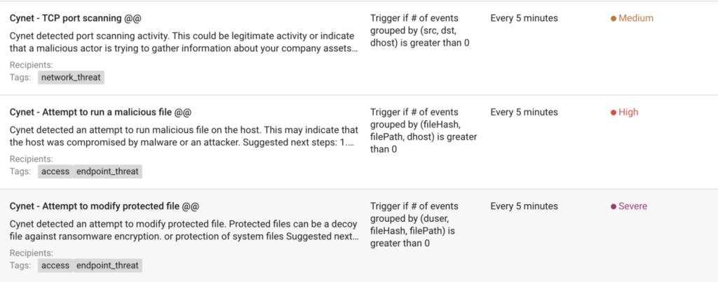 Cynet rules in Logz.io
